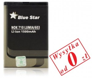 Bateria BlueStar do Nokia 603, 610 Lumia, 710 Lumia 1500 mAh