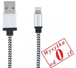 Kabel USB Forever do Apple iPhone iPAD 8-PIN Lightning, pleciony, kolor: biały