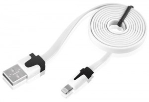 Kabel USB do Apple iPhone iPAD 8-PIN Lightning, płaski, kolor: biały
